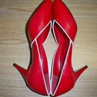 Vintage Red Shoes  Leather  Made in Spain by eclecticnesting