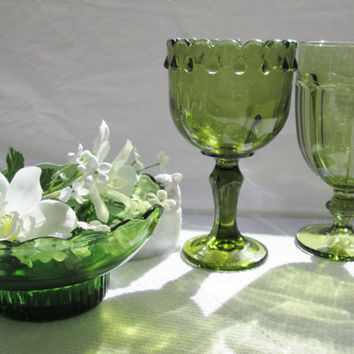 Vintage Emerald Green Glass Wedding Table Decor Wedding Goblets