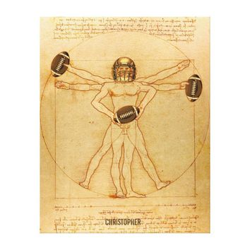 Leonardo Vitruvian Man As American Football Player Canvas Print