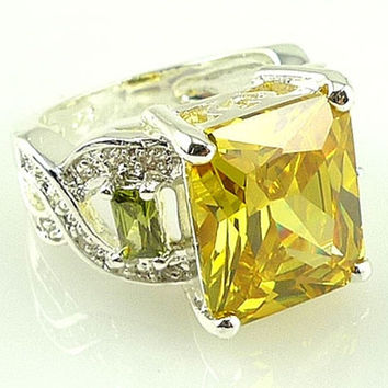 Fashion women 925 sterling  silver Citrine & white topaz gemstones Rings Size 6 7 8 9 10 = 1932363972