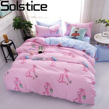 Cool Solstice Cartoon Pink Leopard Children Room 4pcs Bedding Sets Bed Sheet Duvet Cover Pillowcase Bedclothes Twin Full Queen KingAT_93_12
