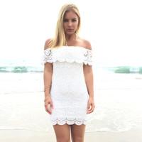 Rio Vista Off Shoulder Crochet Dress In Ivory