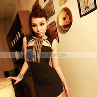 Dianice Sleeveless Cloth Slim Thigh Length Rhinestone Cutout Women Dress - DinoDirect.com