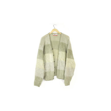 moss green kurt cobain mohair cardigan sweater / vintage 1960s Jantzen / 60s shag / grunge / wool / two toned striped / medium