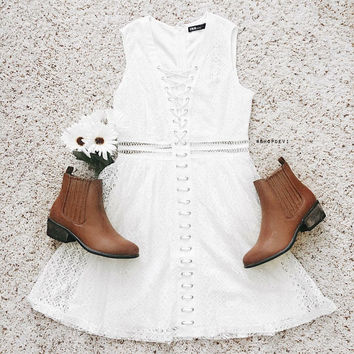 Off White Lace Up Dress