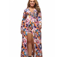 2016 New Party Club Women Jumpsuit Sexy Fashion Plus Size Sleeved Floral Romper  LC64221 XXXL Hot Sale