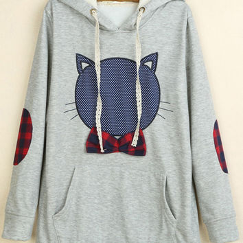 Light Grey Hooded Cat Print Long Sleeve Sweatshirt
