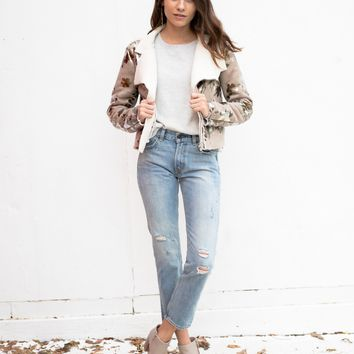Inca Rose Cropped Biker Jacket