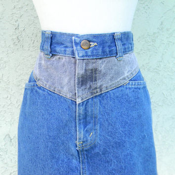 Vintage 80s Denim Mini Skirt - High Waisted Stone Washed Blue and Gray Jean Mini Skirt - Sunset Blues by CHIC Brand Size 5/6 7/8