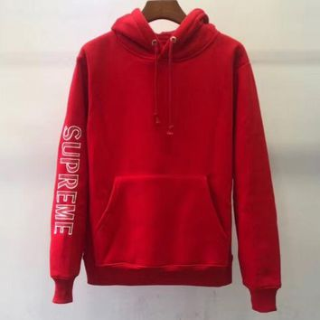 Supreme Sleeve Embroidery Hooded Armband Embroidered LOGO Hoodie red