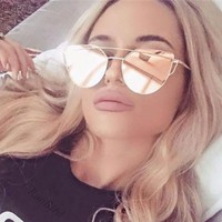 Rose Gold Cat Eye Aviator Flat Top Mirror Celebrity Style Sunglasses