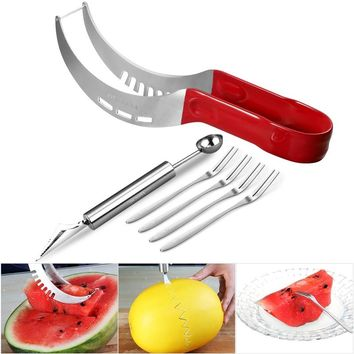 OUNONA 6pcs Watermelon Cutter Server Kit Watermelon Slicer Fruit Carving Tool Set with Long Red Hand Grip