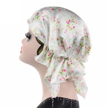Brand New Knitted hat Women Flower Printing Cancer Chemo Hat Beanie Scarf Turban 10 Colors Head Wrap Cap Hair Loss Bonnet Cap