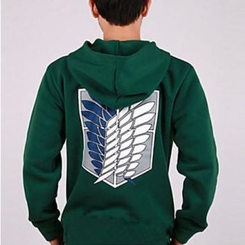 Cool Attack on Titan Inspired by  Mikasa Ackermann Anime Cosplay Costumes Cosplay Hoodies Print Green Long Sleeve Coat AT_90_11