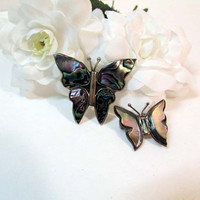 Vintage Butterfly Pin Set - Brooch Set - Sterling Silver Mother of Pearl Abolone Shell