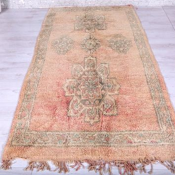 Hallway runner carpet, Moroccan rug, 4.2ft x 8.1ft,