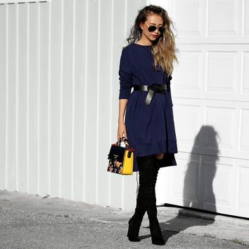 Navy Pocket Terry Sweatshirt Dress