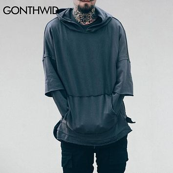 Double Layer Sleeve Solid Color Hoodies Sweatshirts Autumn Men Kangaroo Pocket Pullover Hip Hop Casual Streetwear