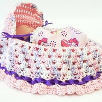 pale pink with light lavender pink white varigated cradle purse baby doll crochet church purse BG90