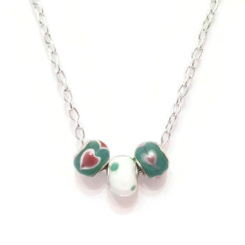 Murano Glass Bead Pandora - Style Necklace, Heart Necklace, Valentine's Day, Unique Birthday Gift, Gift for Her