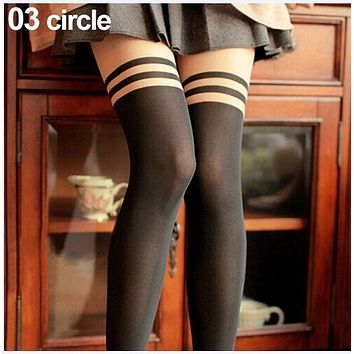 Lovely Devil Tatto Printed Nude Black Spliced Fake Knee High Stocking Tights Pantyhose 4S1V 7FYM BDX7
