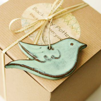 Bird Ornament - Aqua Mist - Ready to Ship