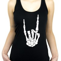 Skeleton Hand Horns Up Metal Women's Racer Back Tank Top Shirt
