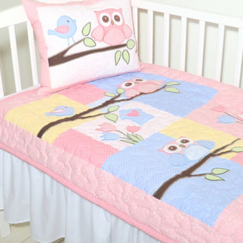 Baby blanket, owl quilt blanket, baby bedding,  owl nursery decoration