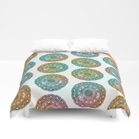 MANDALA MULTI COLOR GRADIENT COLLAGE Duvet Cover by AEJ Design