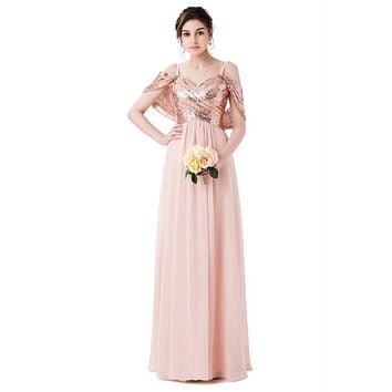 Elegant A Line Sweetheart Sleeveless Sequined Convertible Long Bridesmaid Dress vestido de festa Abendkleid Party Birthday Dress