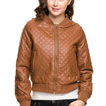 Women Quilted PU Faux Leather Bomber Jacket