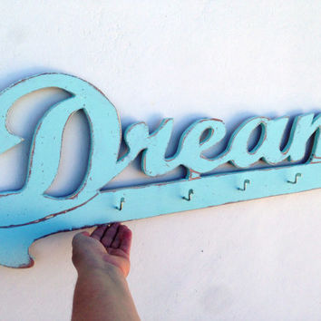 large 31 inc dream word sign, Wooden Key Hook Organizer, costal art sign, wooden word dream