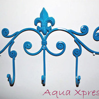 Beautiful Blue Ornate  5 Hook Hanger  bathroom by AquaXpressions