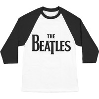 Beatles Men's  Drop T Logo Baseball Jersey Black/White Rockabilia