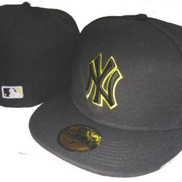 New York Yankees New Era Mlb Authentic Collection 59fifty Hat Black Yellow