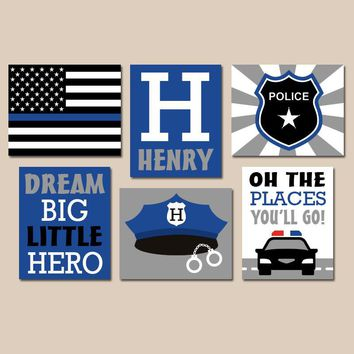 POLICE Wall Art, Police Decor, Police Pictures, Baby Boy Nursery CANVAS or Prints, Big Boy Room Decor, Police Birthday Gift, Set of 6