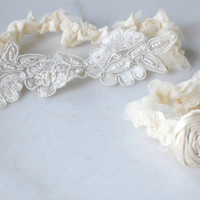 Beaded Embroidered French Tulle Lace Garter by PoshBridalCouture