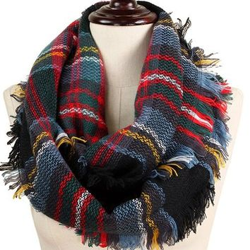 Black Blue Red Yellow Plaid Infinity Scarf