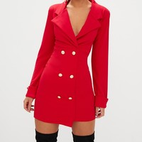 Red Gold Button Detail Blazer Dress