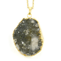 Druzy Necklace, Smoky Quartz Necklace, Rough Gemstone Necklace, Geode Necklace