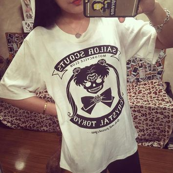 Sailor Moon Shirt gothic Woman Clothing Kawaii Tops Lolita T Shirt Cute Poleras De Mujer Peplum Top HARAJUKU OVERSIZE
