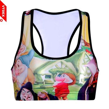 VTDEX 2018 Girl Snow-White Pattern Sports Bras Digital Print Fitness Running Underwear Quick Dry Breathable GYM Shockproof Vest