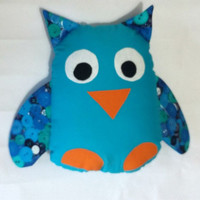 Blue owl decorative pillow, owl cushion - blue nursery theme - perfect accessory for a woodland room - alternative gift for owl lovers