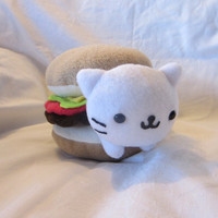 Nyan Nyan Nyanko Cat Stuck in a Cheeseburger Plush