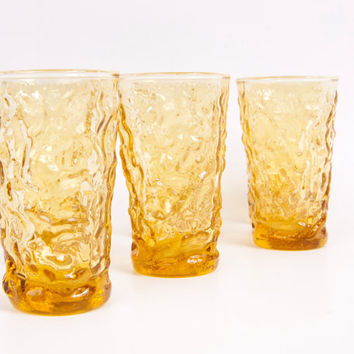 Vintage Anchor Hocking Lido Milano Amber Juice Glasses Set of 6 Textured Glass Honey Gold