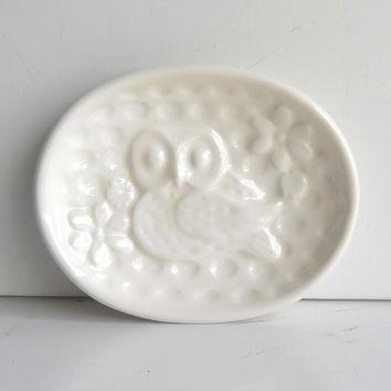 Ceramic Owl Soap Dish Tray Solid White