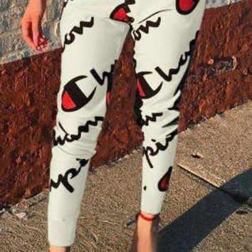 Champion Women Fashion Print Sport Stretch Pants Trousers Sweatpants Joggers-3
