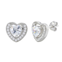 Sterling Silver Halo Cubic Zirconia Heart Stud Earrings Micropave 9mm x 10mm