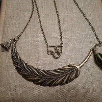 Peter Pan Inspired Feather and Bell Necklace