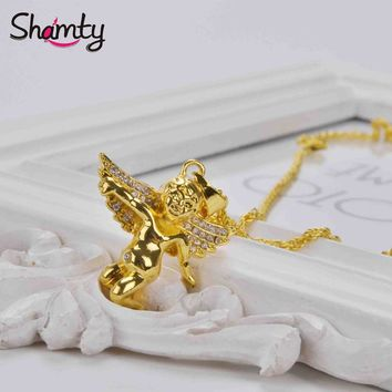 24K Gold Plated Angel Pendant and Necklace